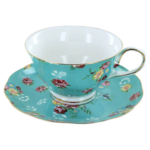 Shabby Rose Turquoise Porcelain - Tea Cup and Saucer Set