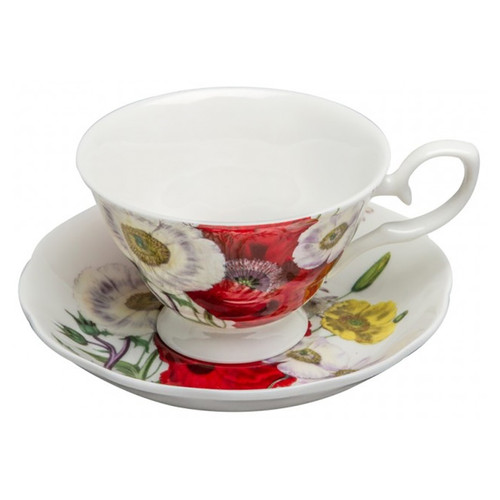 Poppy Field Cups and Saucers, Set of 4