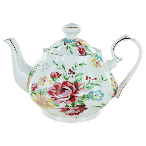 Shabby Rose Cream Porcelain - 5 Cup Teapot