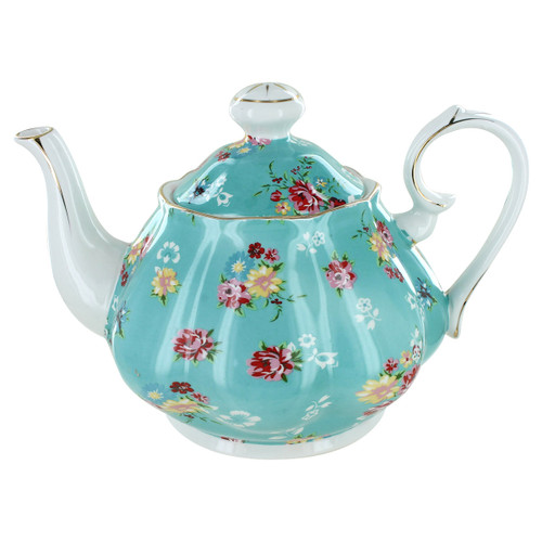 Shabby Rose Turquoise Porcelain - 5 Cup Teapot