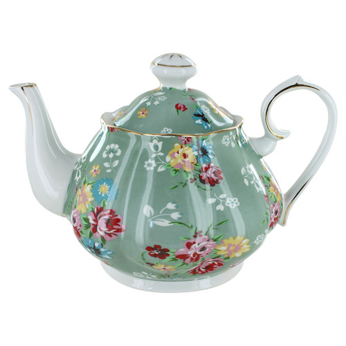 Shabby Rose Green Porcelain - 5 Cup Teapot