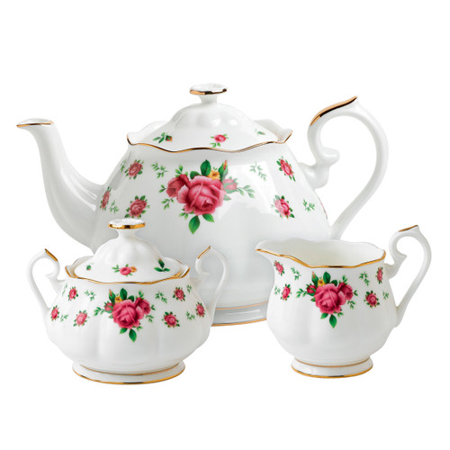 Royal Albert New Country Roses White Fine Bone China - 3 Piece Tea Set