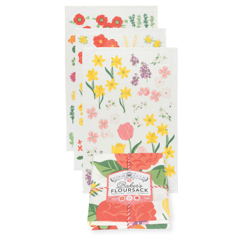 Flowers of the Month Bakers Floursack Dishtowels Set of 3