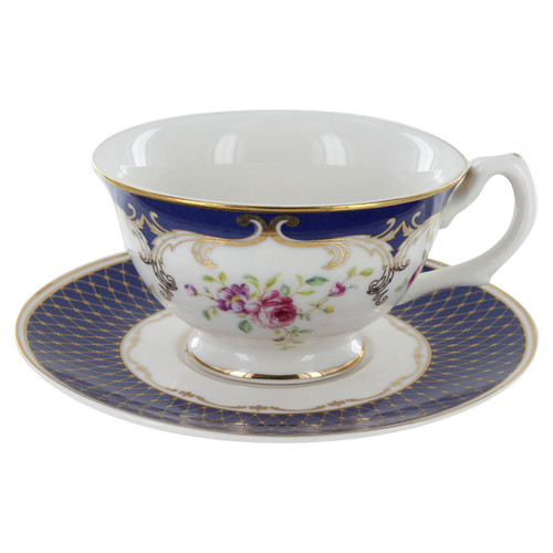 Navy Rose Porcelain - Tea Cup and Saucer Set