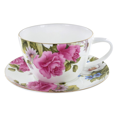 Grace's Rose Bone China - Cup and Saucer - 16oz