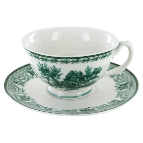 Green Toile Porcelain - Tea Cup and Saucer Set