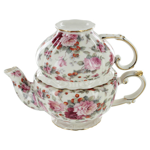 Pink Peony Chintz Porcelain - Tea for One