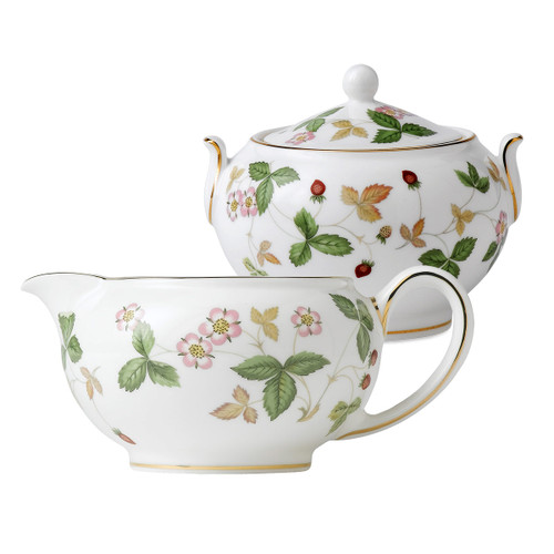 Wedgwood - Wild Strawberry - Sugar Bowl and Creamer Set