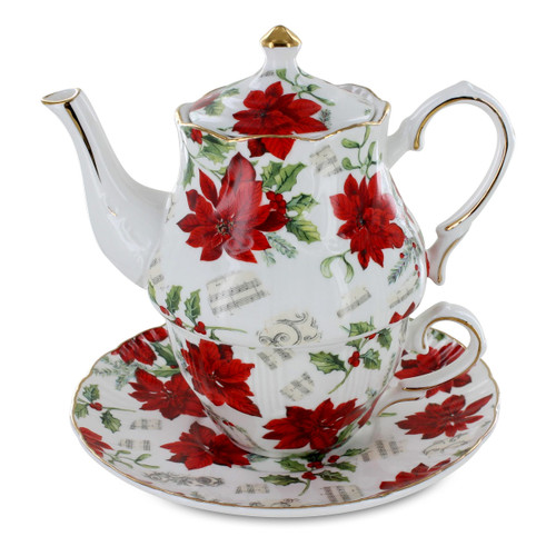 Poinsettia Porcelain Tea for One