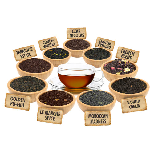 All About Tea Sampler - 1 ounce Pouches of 9 Delicious Loose Leaf Teas