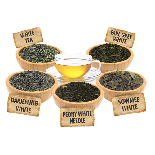 White Tea Lover Sampler - 1 ounce Pouches of 5 White Loose Leaf Teas