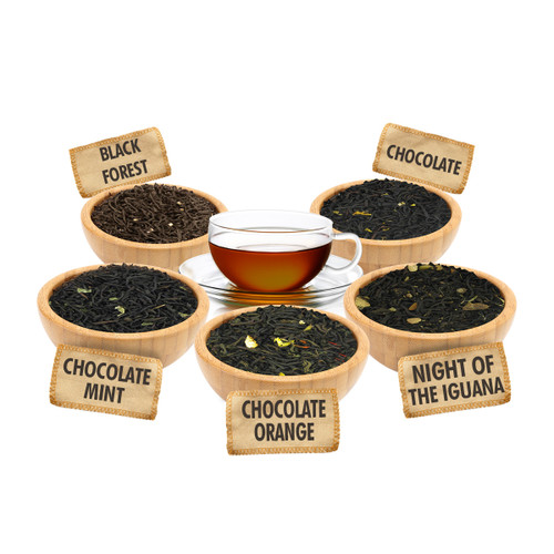 Chocolate Lovers Sampler - 1 ounce Pouches of 5 Chocolate Flavor Loose Leaf Teas