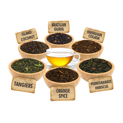 Exotic Fruits Sampler - 1 ounce Pouches of 6 Fruit Flavor Loose Leaf Teas