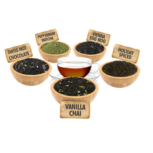 Holiday Tea Sampler - 1 ounce Pouches of 5 Seasonal Flavor Loose Leaf Teas