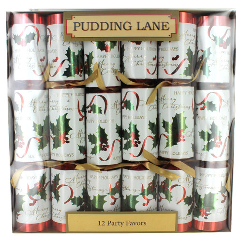 Pudding Lane Antique with White Holly Christmas Crackers -  12 pack