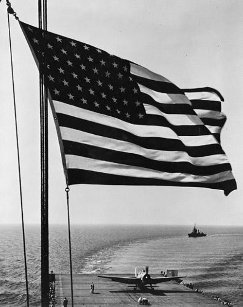 American Flag on the Deck of a Battleship - Downloadable Image