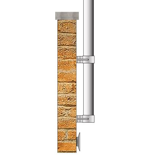 25-Foot Vertical Wall-Mount Flagpole Set