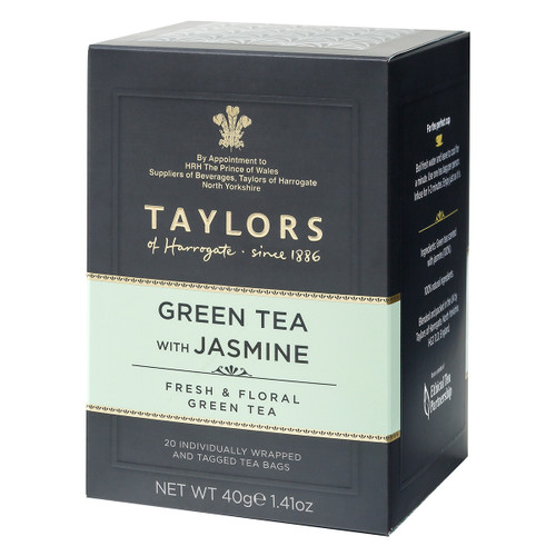 Taylors of Harrogate Green with Jasmine String and Tag Teabags, 20ct