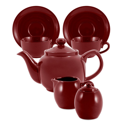 Amsterdam Tea Set - 2 Cup - Burgundy