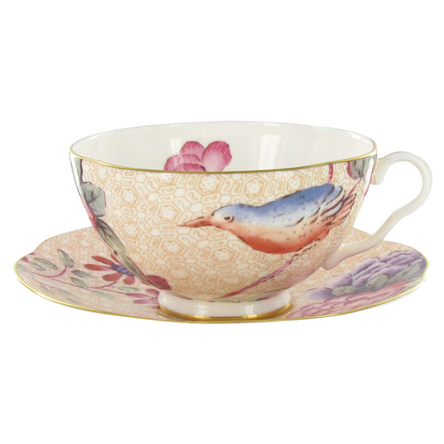 Wedgwood Harlequin Collection - Cuckoo - Tea Cup and Saucer - Peach
