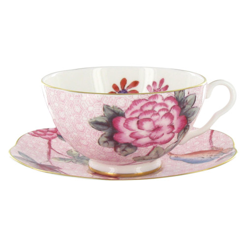 Wedgwood Harlequin Collection - Cuckoo - Tea Cup and Saucer - Pink