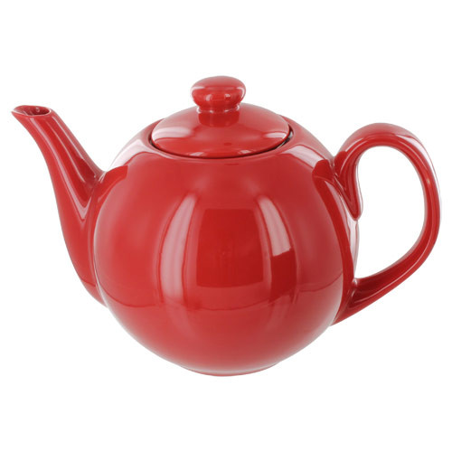 Teaz Cafe Teapot with Stainless Steel Infuser - 40oz - Red