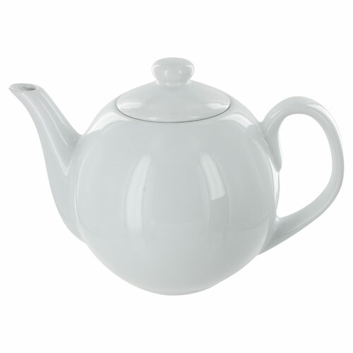 Teaz Cafe Teapot with Stainless Steel Infuser - 40oz - White