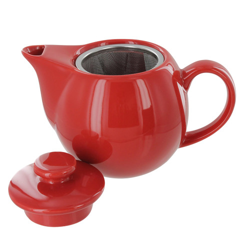 Teaz Cafe Teapot with Stainless Steel Infuser - 14oz - Red