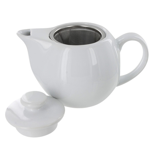 Teaz Cafe Teapot with Stainless Steel Infuser - 14oz - White