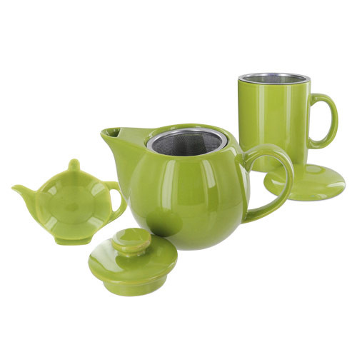 Teaz Cafe Set with Stainless Steel Infuser Teapot- 14oz - Green