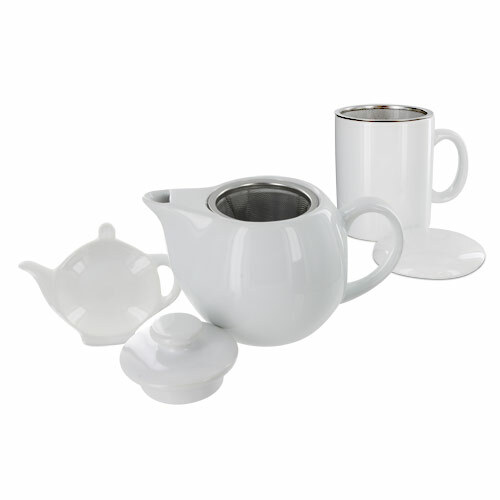 Teaz Cafe Set with Stainless Steel Infuser Teapot- 14oz - White