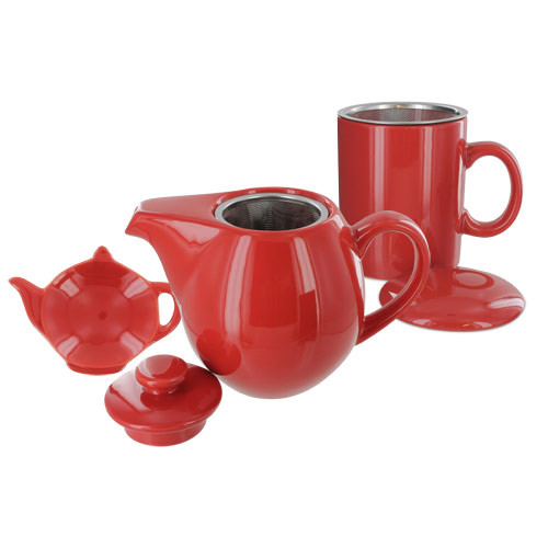 Teaz Cafe Set with Stainless Steel Infuser Teapot- 24oz - Red