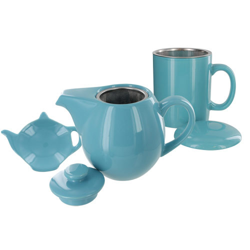 Teaz Cafe Set with Stainless Steel Infuser Teapot- 24oz - Turquoise