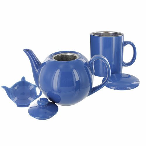 Teaz Cafe Set with Stainless Steel Infuser Teapot- 40oz - Blue