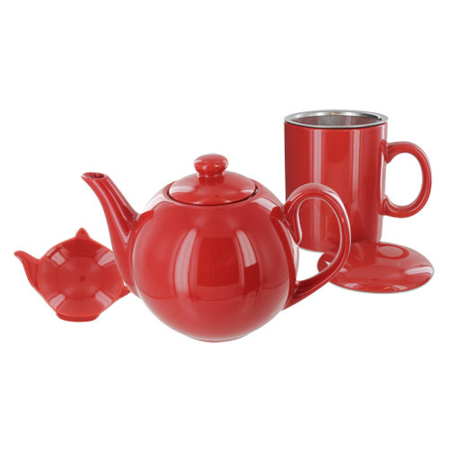 Teaz Cafe Set with Stainless Steel Infuser Teapot- 40oz - Red