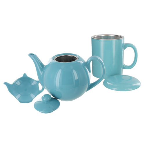 Teaz Cafe Set with Stainless Steel Infuser Teapot- 40oz - Turquoise