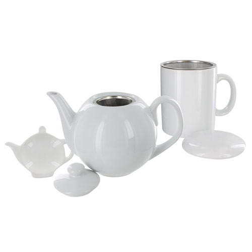 Teaz Cafe Set with Stainless Steel Infuser Teapot- 40oz - White