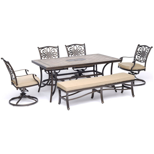 Traditions 6-Piece Dining Set in Tan with 4 Swivel Rockers, a Cushioned Bench, and a Cast-Top Table