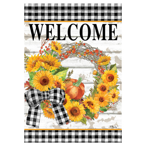 Carson Fall Banner Flag - Sunflower Wreath