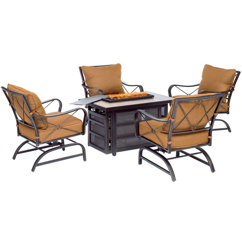 Summer Nights 5-Piece Fire Pit Chat Set with 4 Deep-Seating Rockers and a 30,000 BTU Gas Fire Pit Coffee Table