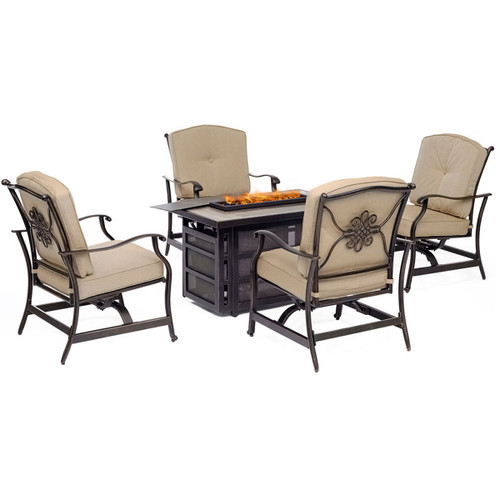 Traditions 5-Piece Seating Set in Tan with a 30,000 BTU Fire Pit Table
