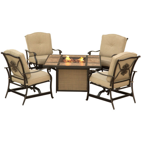 Traditions 5-Piece Outdoor Lounge Set in Natural Oat with Tile-Top Fire Pit
