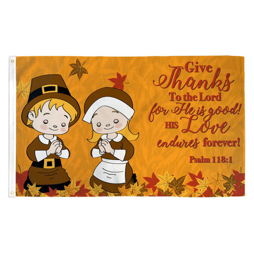 Fall Give Thanks Flag - 3ft x 5ft Printed Polyester