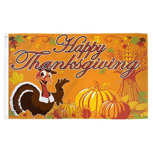 Happy Turkey Flag - 3ft x 5ft Printed Polyester