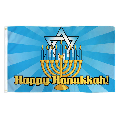 Happy Hanukkah Flag - 3ft x 5ft Printed Polyester