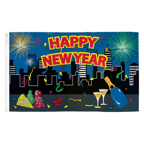 Happy New Year Flag - 3ft x 5ft Printed Polyester