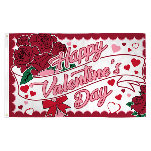 Happy Valentine's Day Waterproof Flag - 3ft x 5ft Printed Polyester
