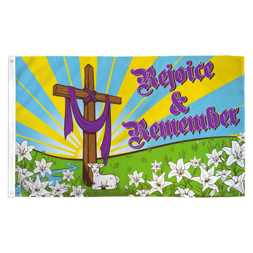 Easter Rejoice and Remember Flag - 3ft x 5ft Printed Polyester