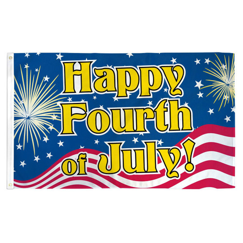 Happy Fourth of July Flag - 3ft x 5ft Printed Polyester