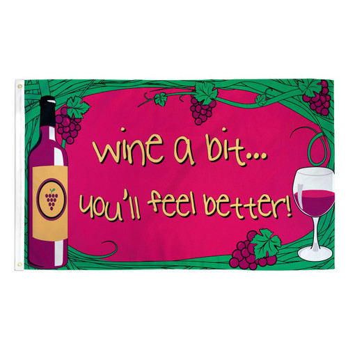 Wine A Bit Flag - 3ft x 5ft Printed Polyester